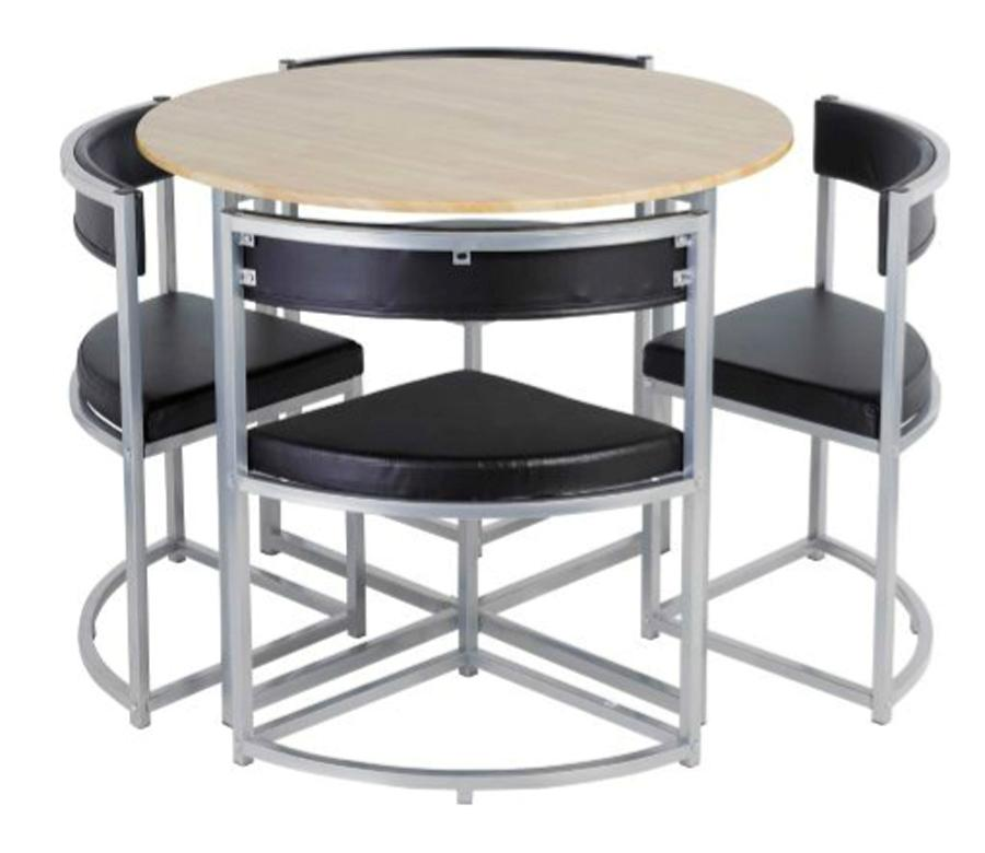 Hygena round space saving dining table and chair set h for Space saving dining set