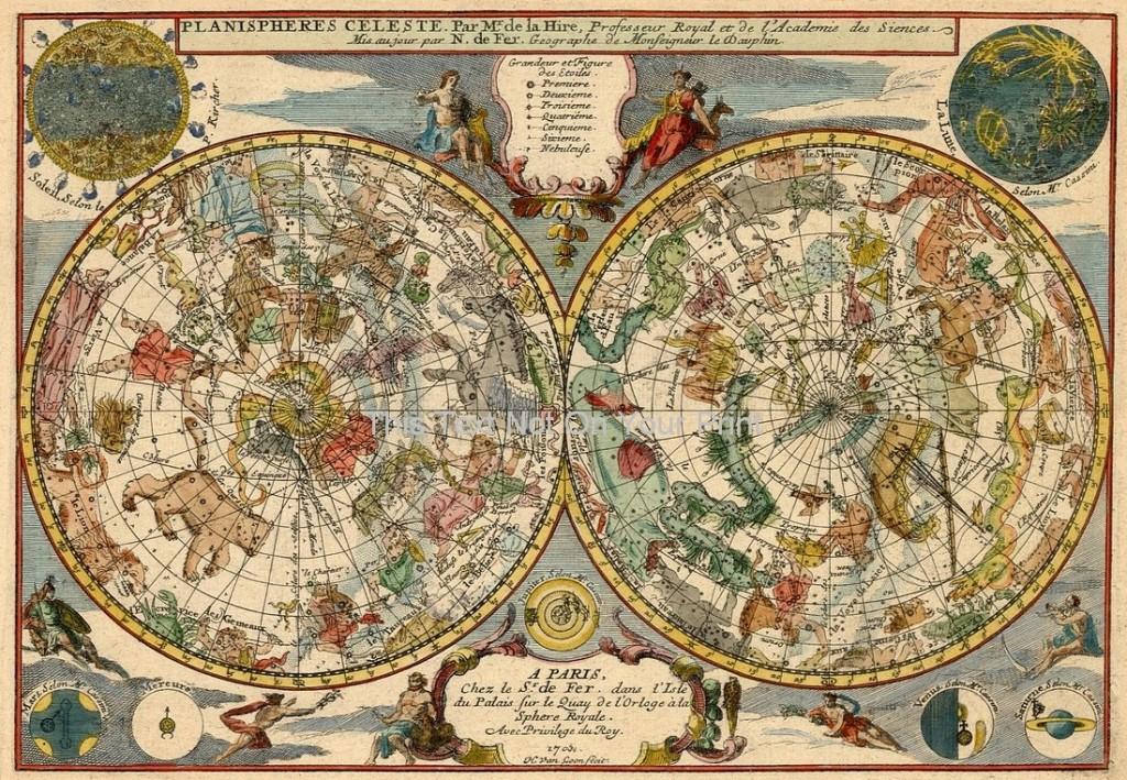 repro antique planisphere celeste old colour zodiac map. Black Bedroom Furniture Sets. Home Design Ideas