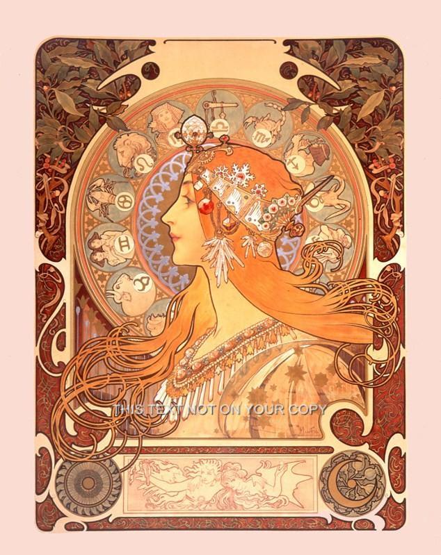 Alphonse Alfons Mucha Art Nouveau Deco Zodiac Picture Star Sign Poster