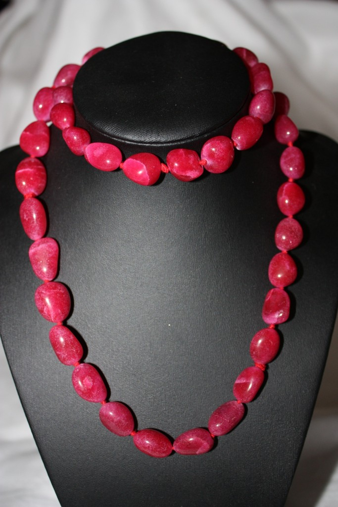 Gemstone-Nugget-Necklaces-Necklace-28-inches-Agate-Red-Pink-Black-Quartz-Clear