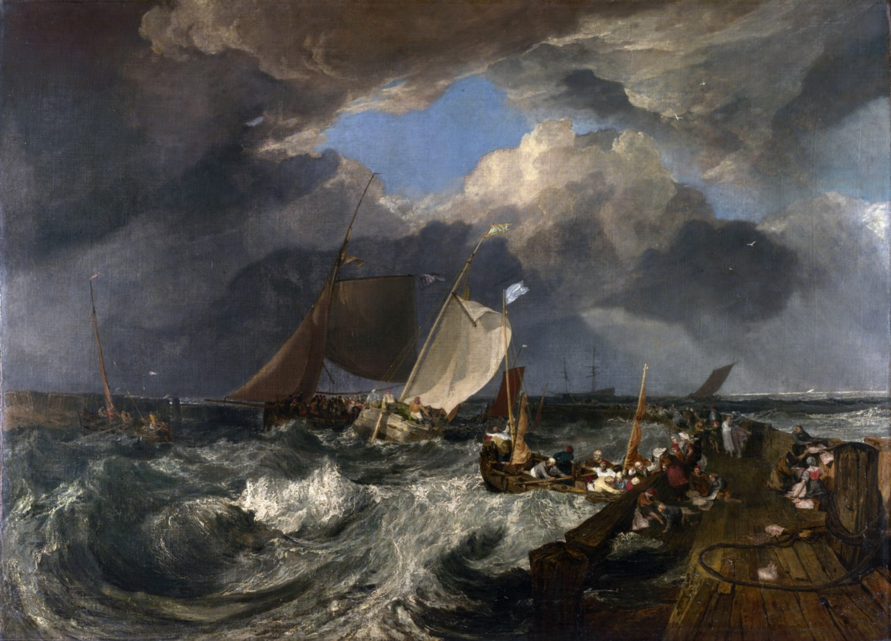 Calais-Pier-in-Stormy-Seas-by-Joseph-Turner-Canvas-Seascape-Giclee-Picture-Print