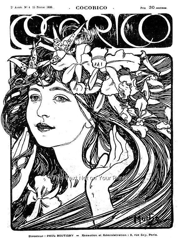 Rare alfons alphonse mucha art nouveau prints vintage