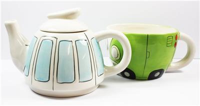 VW Camper Van Tea For One Set Quirky Retro Look Gift Boxed Teapot Teacup Present | eBay