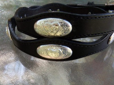 Silver Creek Classics Black Leather Belt /Heart oval conchos/Engraved