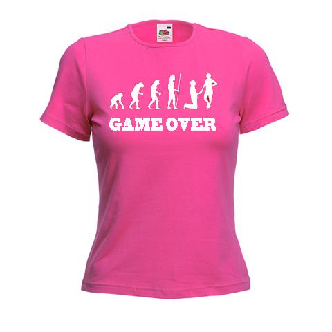 GAME OVER - WEDDING PROPOSAL FUNNY TSHIRT - HEN NIGHT LADIES SKINNY FIT T SHIRT