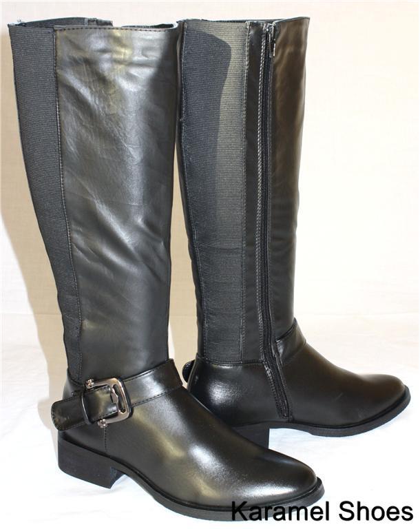 6115 black knee high low heel wide leg boots size 3 8 ebay
