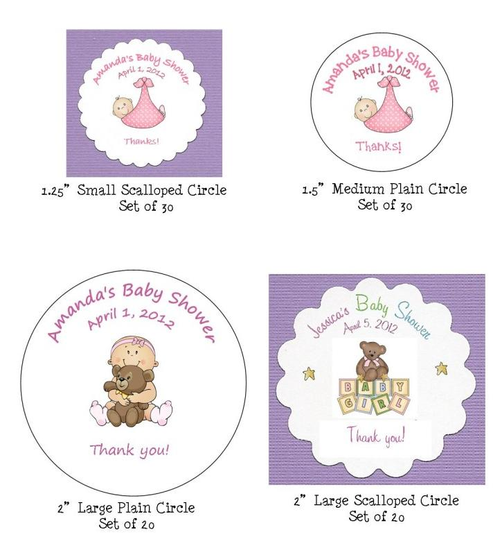 details about baby shower favor tags 8 shape choices 200 graphics