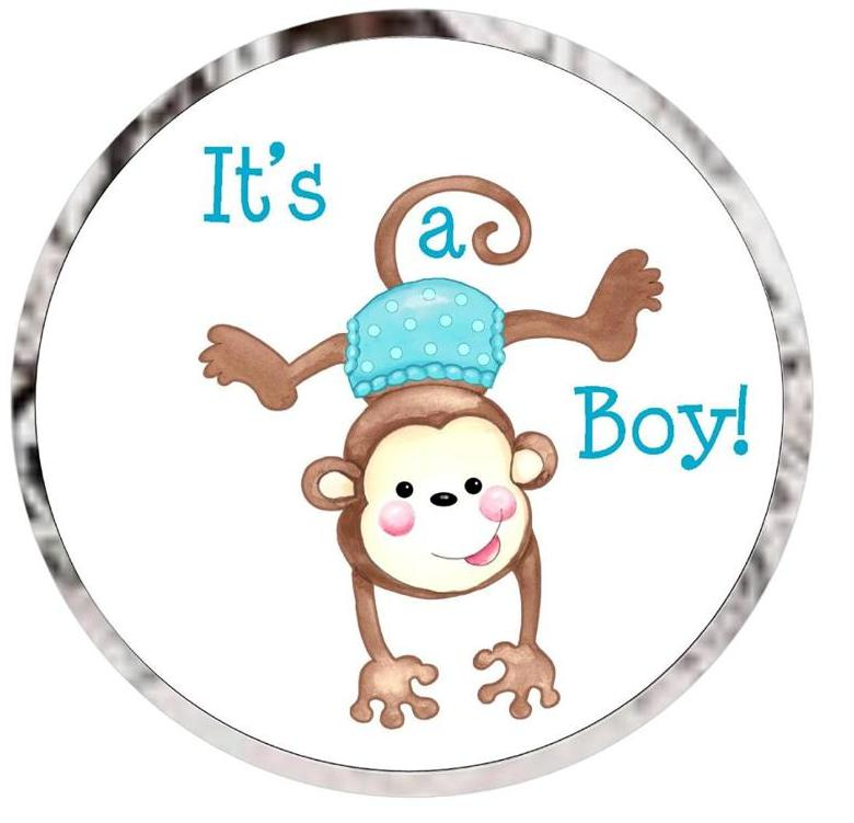 baby shower kiss candy favor labels monkey girl or boy ships in