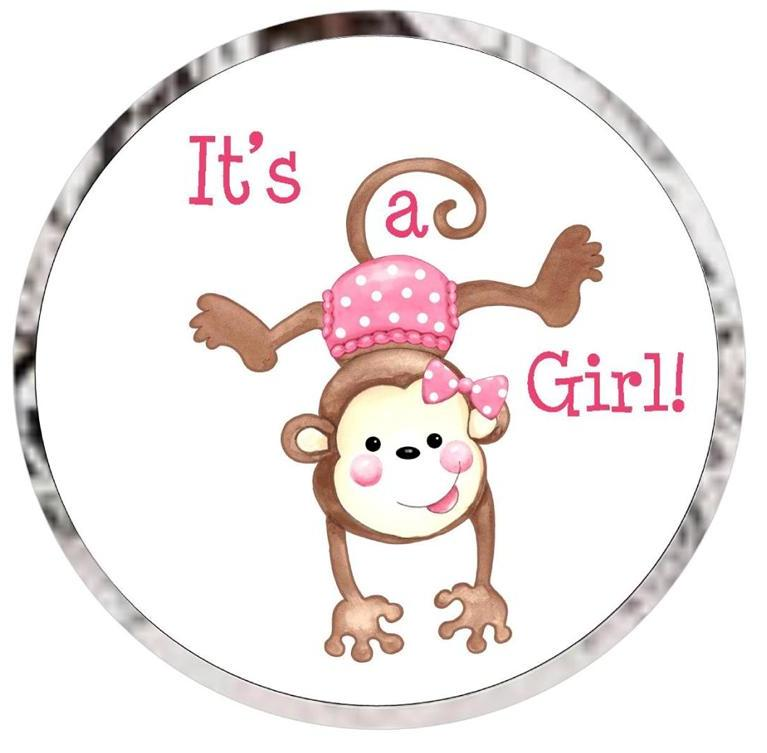 Beautiful Baby Shower Kiss Candy Favor Labels Monkey Girl
