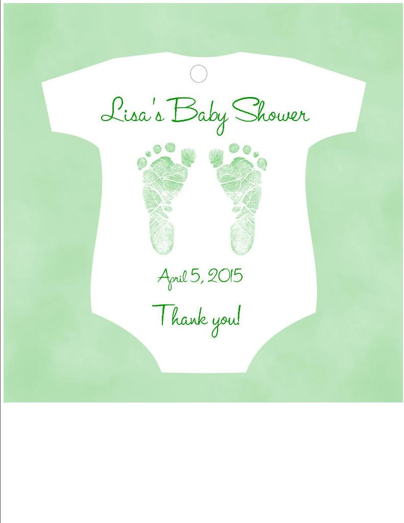 Baby shower favor tags onesie shaped pink blue purple or green footprints ebay for Shower favor tag