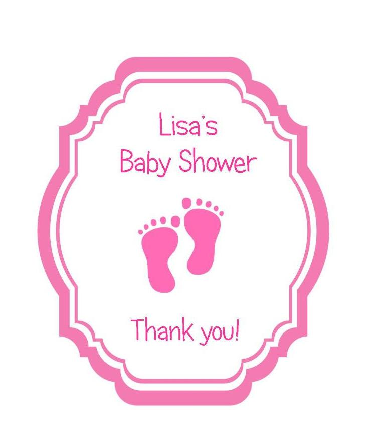 baby shower favor tags pink or blue footprints on shaped