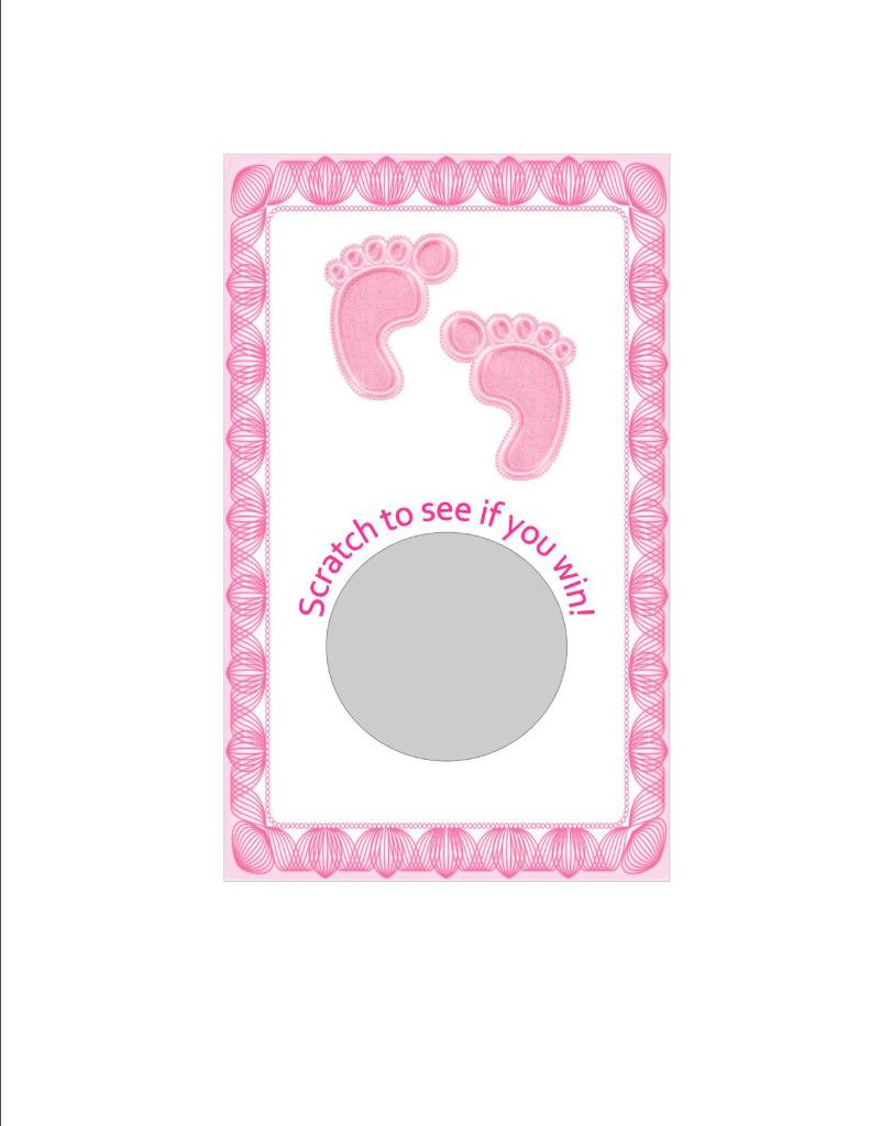 Baby Shower Stickers Next Day Delivery ~ Baby shower scratch off game cards pink blue feet