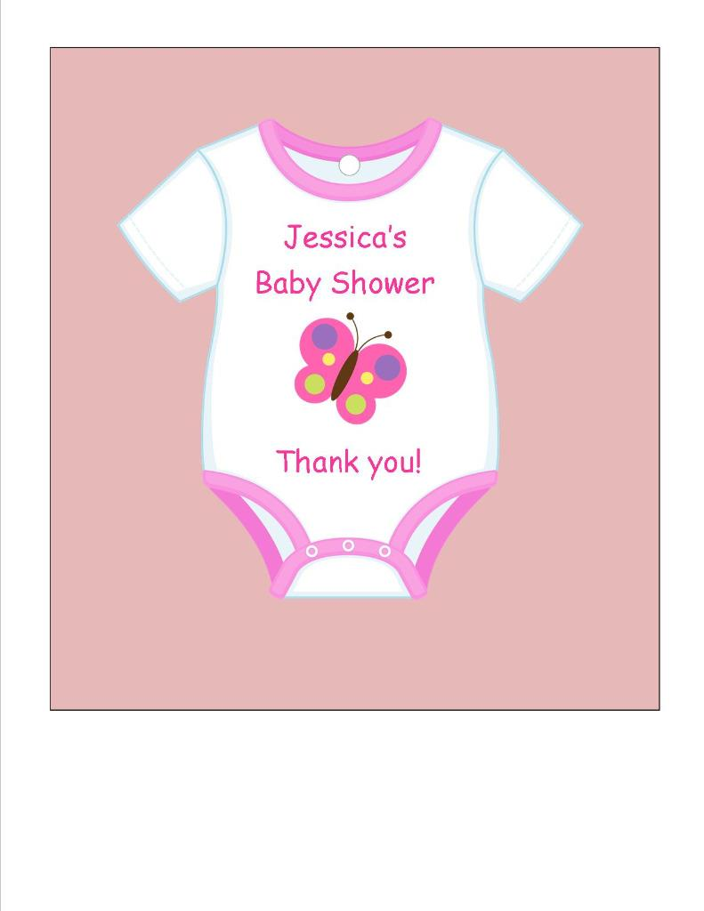 Baby Shower Favor Tags Onesie Cutout Your Color