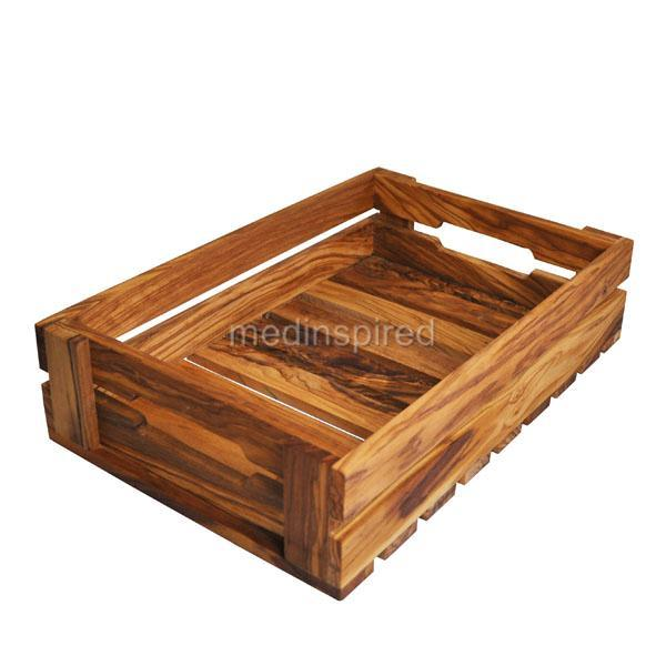 olive wood fruit and veg vegetable crate storage ebay