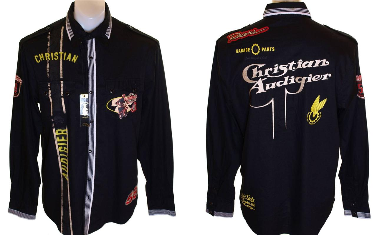 Bnwt-Mens-Christian-Audigier-Long-Sleeved-Pearl-Press-Stud-Button-Shirt-New