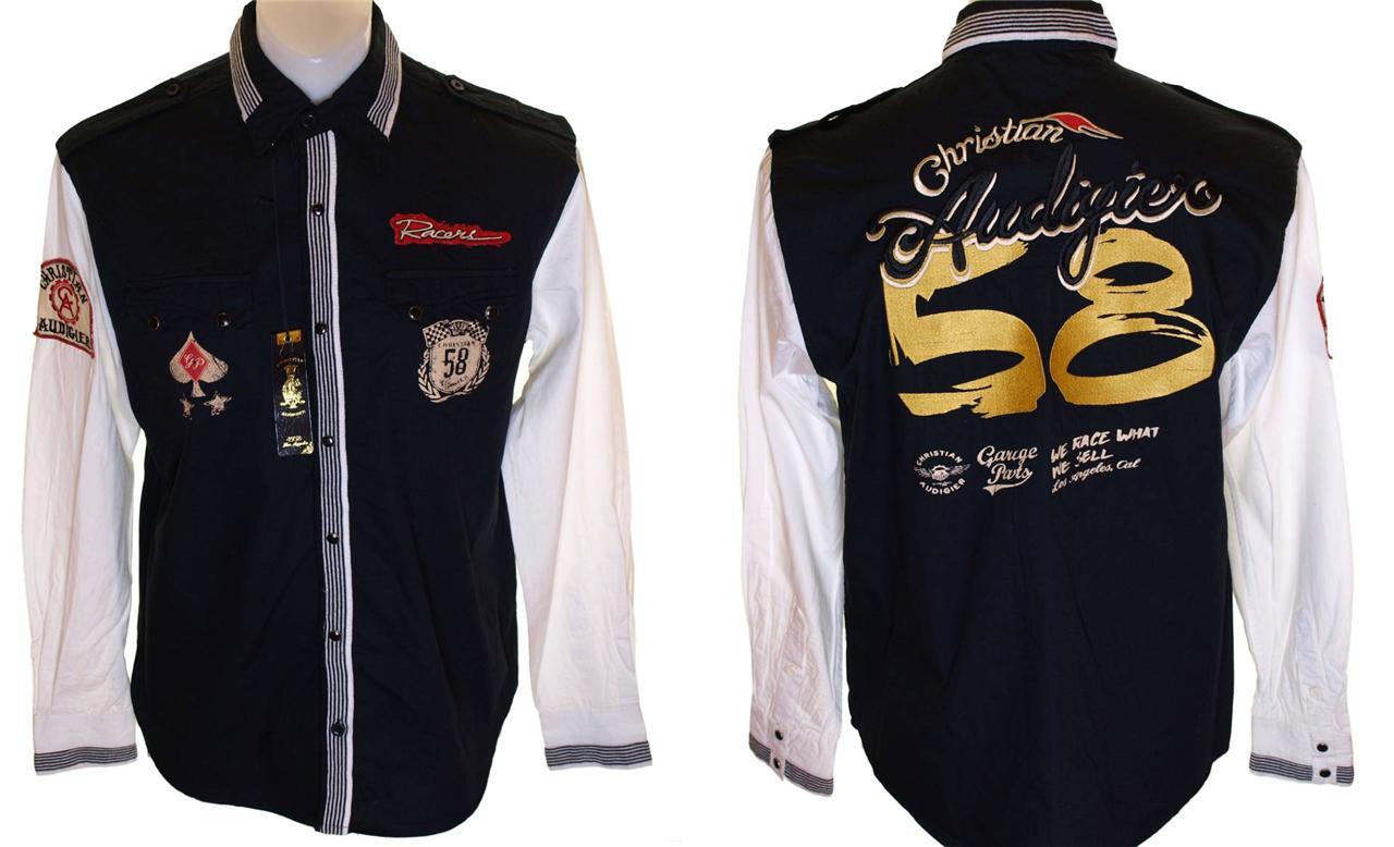 Bnwt-Mens-Christian-Audigier-Long-Sleeved-Pearl-Press-Stud-Button-Shirt-New