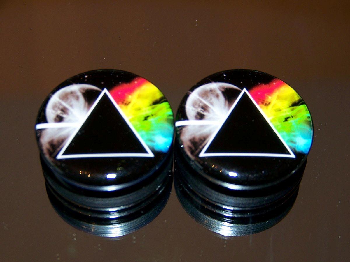 Pink Floyd Dark Side Of The Moon Prism Earring Er Flesh Tunnel Ear Plugs New
