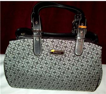 Strada Handbag Gray, Black Circles on Gray w/Black Trim