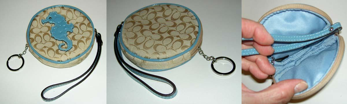 rare coach signature khaki blue c logo seahorse round coin