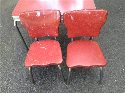 Vintage retro 1940 39 s child size formica chrome kitchen set table 2 chairs ebay - Retro formica table and chairs ...