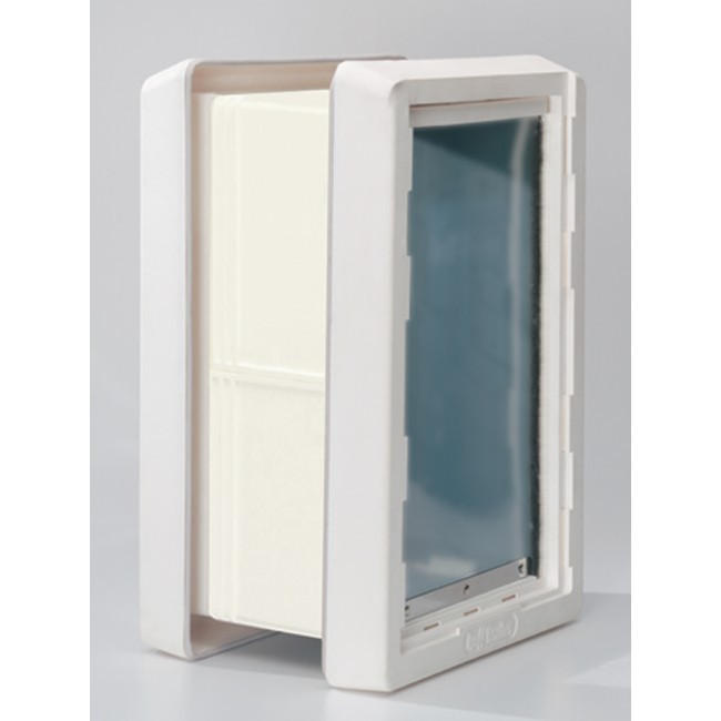 Ideal ruff weather insulated pet dog door 2 flaps wall for Ideal dog door