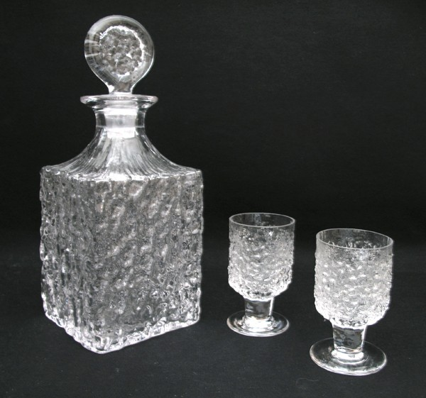 WHITEFRIARS-GLACIER-CRYSTAL-DECANTER-2-GLASSES-BAXTER-MID-CENTURY-EAMES-GLASS