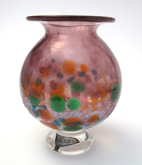 STUNNING-SIGNED-GORDON-STUDIO-1992-AUSTRALIAN-ART-GLASS-VASE-WITH-LABEL