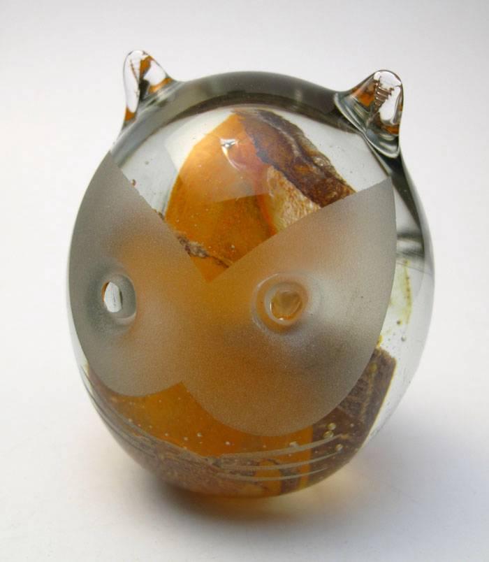 VINTAGE-KERRY-ART-GLASS-ORANGE-CAT-PAPERWEIGHT-HANDMADE-IRELAND-BOXED-LABEL-2