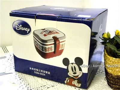 2tier disney mickey mouse bento lunch box w handle ebay. Black Bedroom Furniture Sets. Home Design Ideas