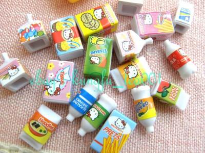 "Sanrio Hello Kitty Miniature Toy ""Convenience Store"" Fridge Cashier Drinks Food"
