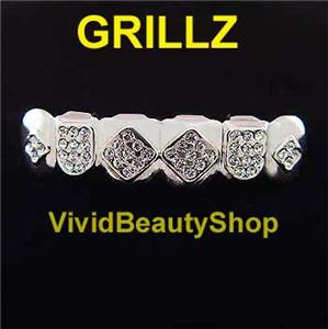 G6-21-Hip-Hop-Crystal-Clear-Silver-Teeth-Grillz-amp-Mold