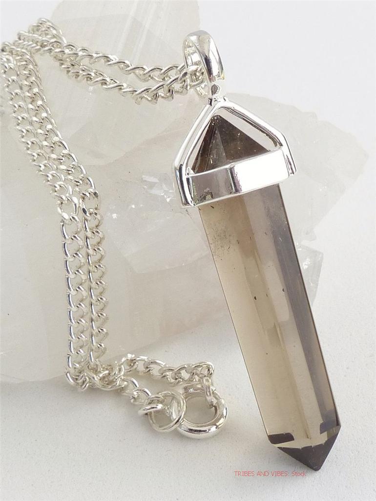 smokey quartz crystal point pendant necklace gemstone. Black Bedroom Furniture Sets. Home Design Ideas