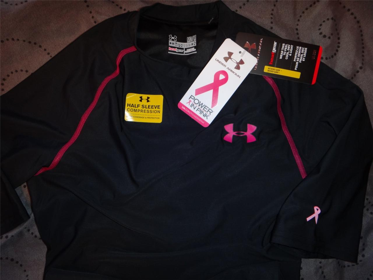 under armour compression heatgear pink breast cancer shirt