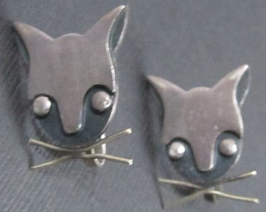 vintage delfino taxco sterling silver cat earrings