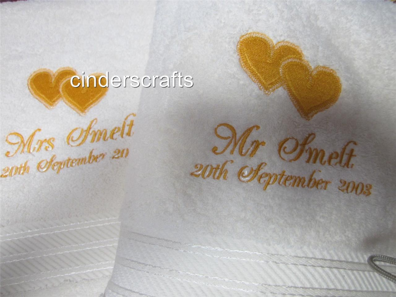 Personalised-Towel-Sets-Embroidered-Anniversary-Weddings-Hearts-amp-Names-Date