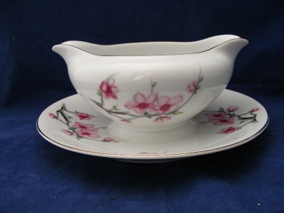 Diamond China Cherry Blossom Gravy Boat with Attached Underplate