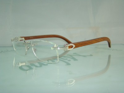 100% AUTHENTIC CARTIER Platinum Bubinga Wood Rimless ...
