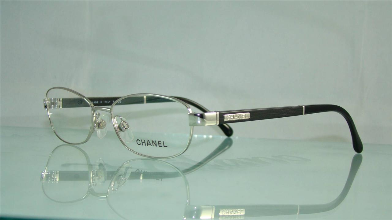 100% Authentic CHANEL 2163 124 Silver & Black Glasses ...