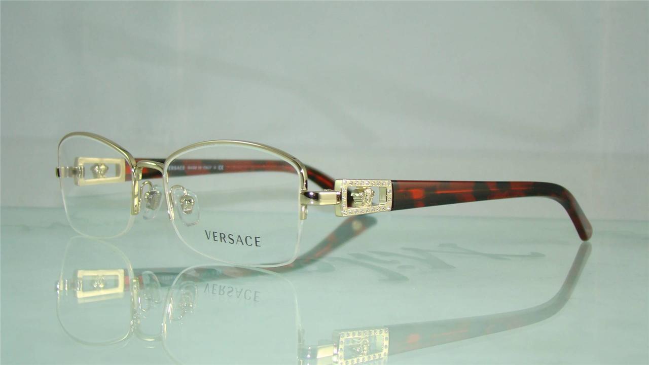 Versace Half Frame Glasses : NEW VERSACE 1206 1252 GOLD & TORTOISE HALF RIM GLASSES ...