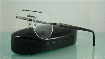Eyeglass Frame Size 58 : Mont Blanc MB 446 016 Black Rimless Aviator Eyeglasses ...
