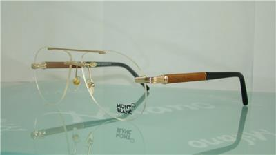 86bf3fbba3 MONT BLANC MB 446 028 GOLD WOOD BLACK Rimless Aviator Eyeglasses Frames Size  58