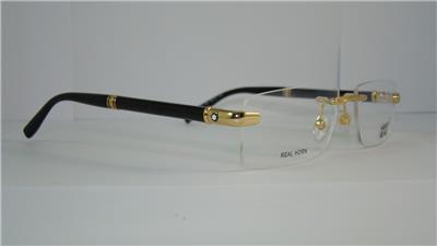 d5bef05806 MONT BLANC MB 473 028 Gold   Black Rimless REAL HORN Eyeglasses Frames Size  56