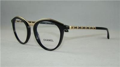 CHANEL 3349 501 Black & Gold Glasses Eyeglasses Frames ...