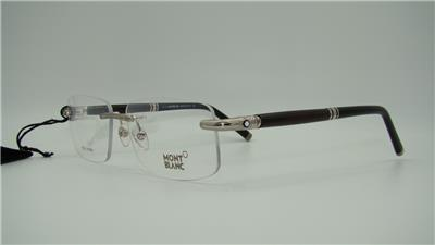 Eyeglass Frame Size 58 : MONT BLANC MB 479 016 Silver & Black Rimless REAL HORN ...