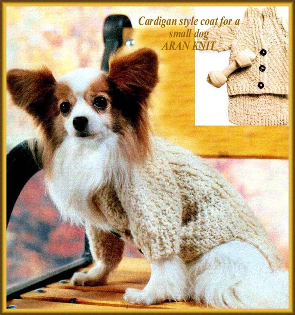 Knitting pattern for cardigan style small dog coat - Aran knit eBay