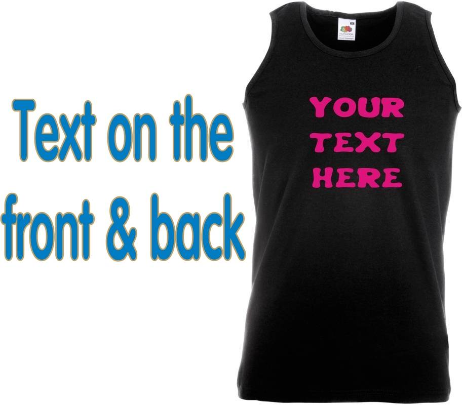 FRONT-BACK-Personalised-Ladies-VEST-YOUR-TEXT-HERE-fun-hen-party-work-black