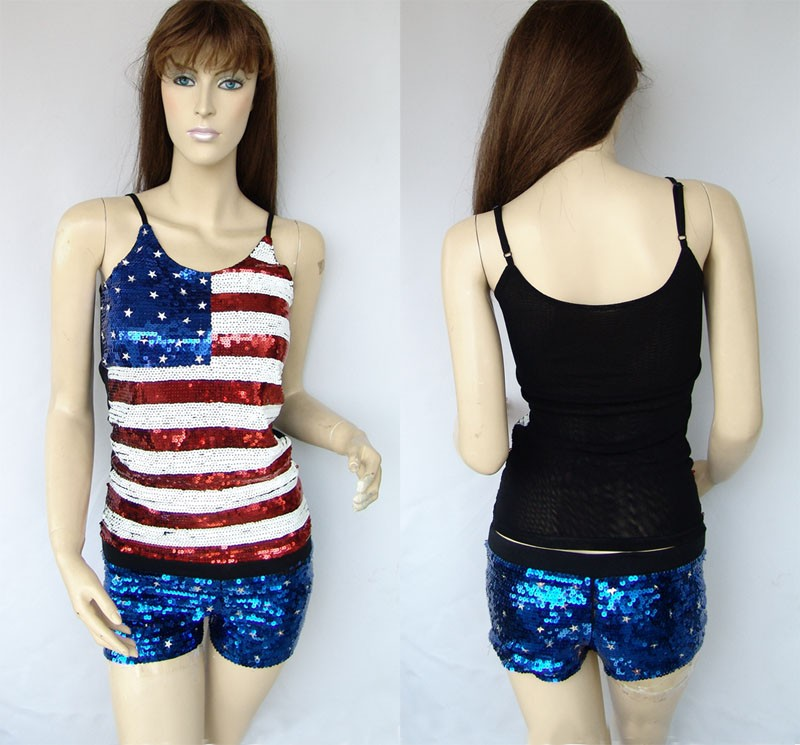 Sexy Ladies Flag Party Bling Sequin Body Singlet Top&Shorts Pants&Suit 205