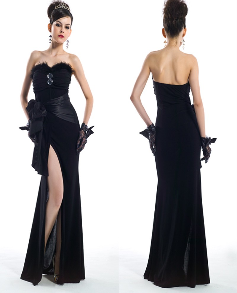 Lady Evening Party Prom Gown Body Shape Black Night Club