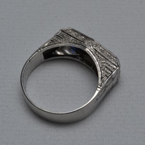 deco sapphire diamonds platinum ring marked ebay