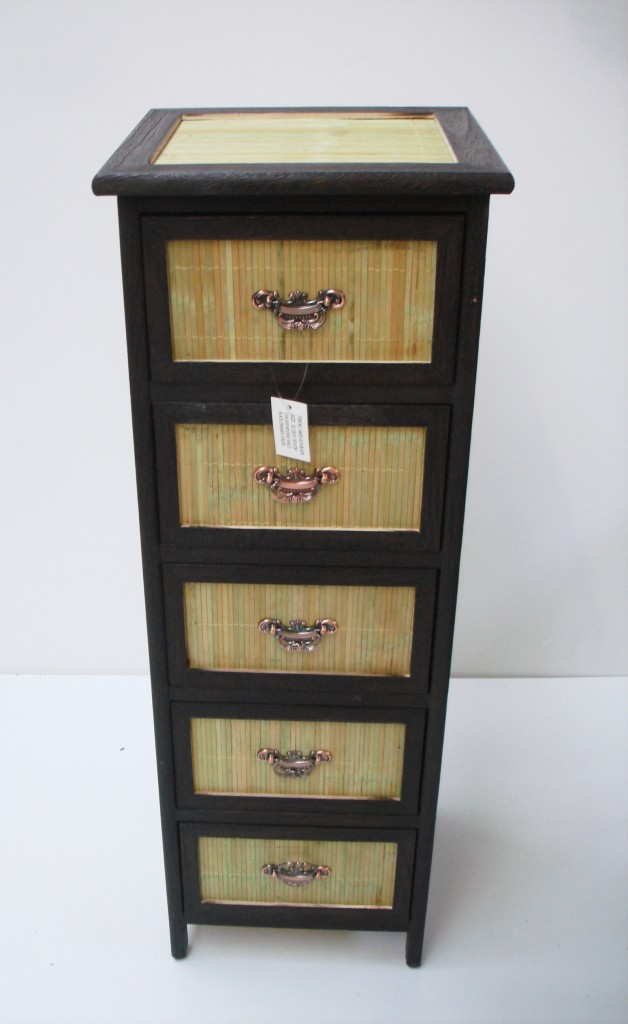 details about 5 draw wicker bathroom living room storage unit cabinet